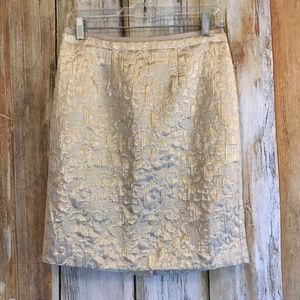 Ann Taylor LOFT Gold Brocade Pencil Skirt sz 4